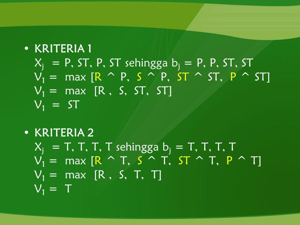 KRITERIA 1 Xj = P, ST, P, ST sehingga bj = P, P, ST, ST. V1 = max [R ^ P, S ^ P, ST ^ ST, P ^ ST]
